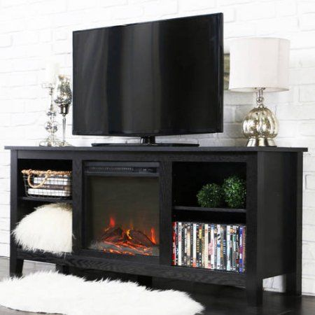 walker edison driftwood tv stand with fireplace insert for tvs up to 60 inch multiple colors black