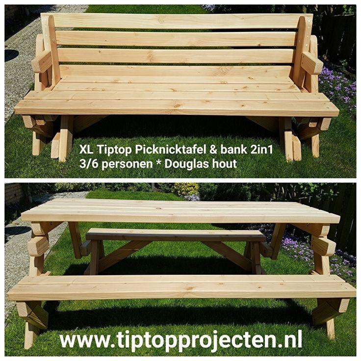 * Douglas Hout * TipTop Picknicktafel & bank 2in1 * (XL-model 3/6 personen)