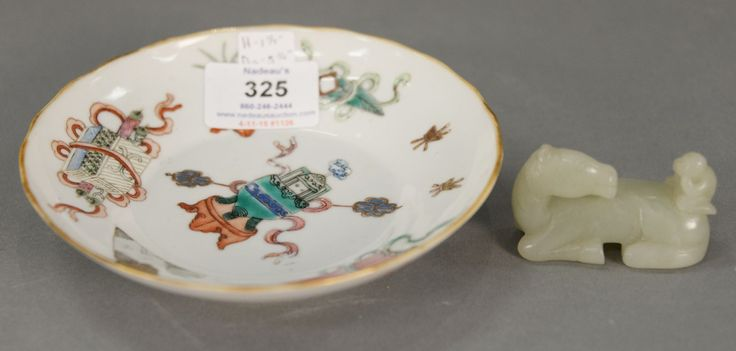 Celadon jade horse and Chinese porcelain saucer with enameled antiques, seal mark on bottom.