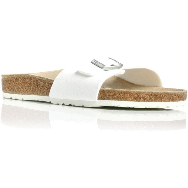 Madrid Birkenstock White ($65) ❤ liked on Polyvore featuring shoes, sandals, flip flops, white, metallic sandals, birkenstock, multi color sandals, white sandals and birkenstock sandals