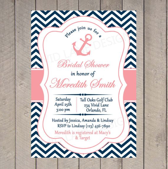 Bridal Shower Invitation Nautical Printable By Lanedesigns 18 00