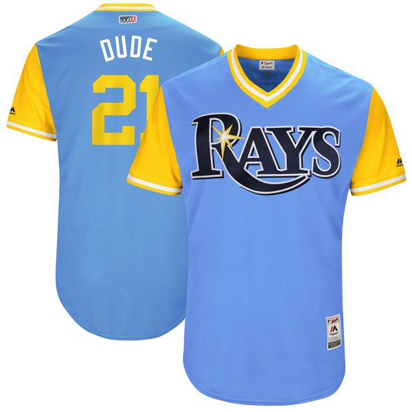 """Lucas Duda """"Dude"""" Tampa Bay Rays Majestic 2017 Players Weekend Authentic Jersey - Light Blue - $199.99"""