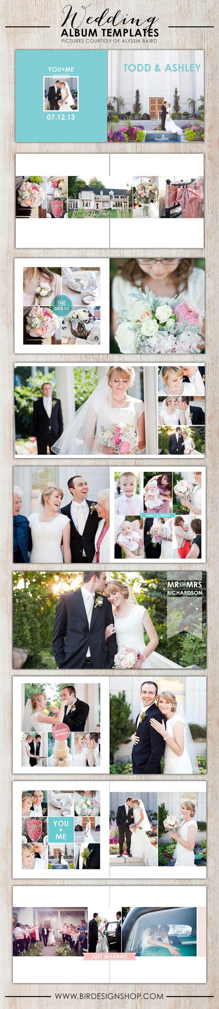 Adorable wedding album templates for Photoshop