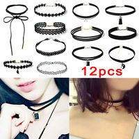 12Pcs Choker Necklace Set Stretch Velvet Classic Gothic Tattoo Lace Retro Black