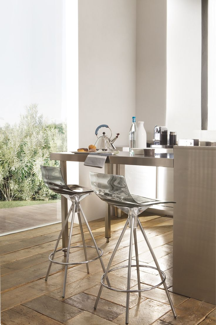 """L'Eau  counter stools feature a stunning pattern of concentric waves in its surface. Seat height 25.6"""" H . Available in transparent aquamarine,smoke grey, orange & transparent"""