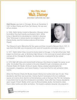 Walt Disney   Printable Biography - http://makingartfun.com/htm/f-maf-printit/disney-printit-biography.htm (Scheduled via TrafficWonker.com)