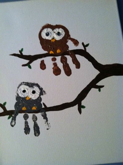 Emma's Diary: Easy Crafts For Kids - Owl Hands (paint a large tree and put the whole class on the branches for open house)