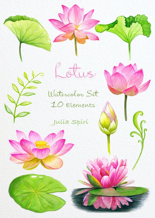 Watercolor Flowers Clipart Lotus Wedding Invitation by JuliaSpiri