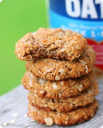 {oil free} Oatmeal Almond Butter Cookies... NO flour or butter! http://chocolatecoveredkatie.com/2014/05/14/almond-butter-cookies/ ‎