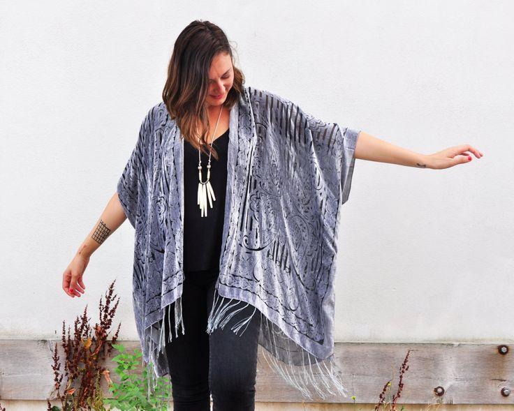 Velvet Kimono: Silver Velvet Burnout Beach Cover Up Shawl Open Wrap by HalinaShearmanDesign on Etsy