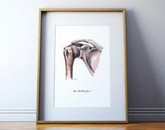 Huesos de la anatomía mano pintura impresión carpo por LyonRoad
