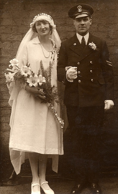 Happy naval wedding, about 1930