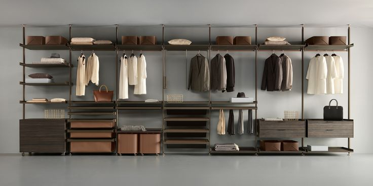"""Zenit"" Wardrobe with brown aluminum structure, shelves and drawer units in coal larch melamine. (by Rimadesio)"