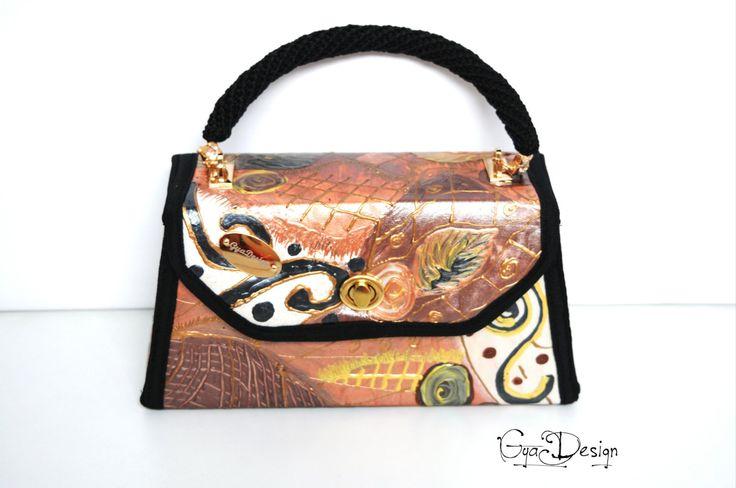 RESERVED Hand painted abstract purse, 3D hand painted handbag, brown gold creamy purse, luxury gold black rigid handbag, designer handbags by GyaDesign on Etsy