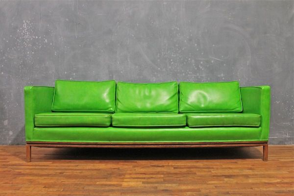 Lime Green Vinyl Mod Couch
