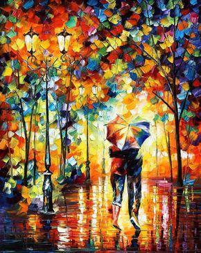 """Sob um guarda-chuva — Espátula Pintura a óleo sobre tela por Leonid Afremov - Tamanho: 30 """"x 36""""(75cm x 90cm)"""