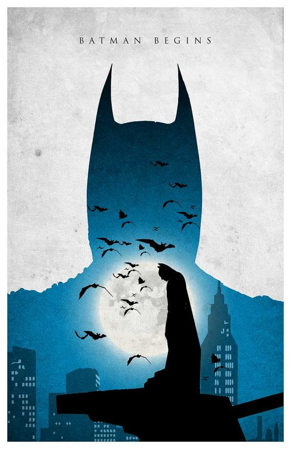 Batman Trilogy Poster Batman Begins by MINIMALISTPRINTS on Etsy