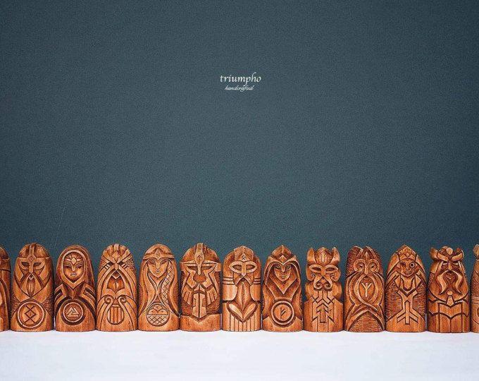Scandinavian Gods Set. Wooden statues: Odin, Thor, Freyja, Frig, Magni, Tyr, Heimdallr, Hel, Loki, Bragi, Iduna, Freyr, Baldr in the one set