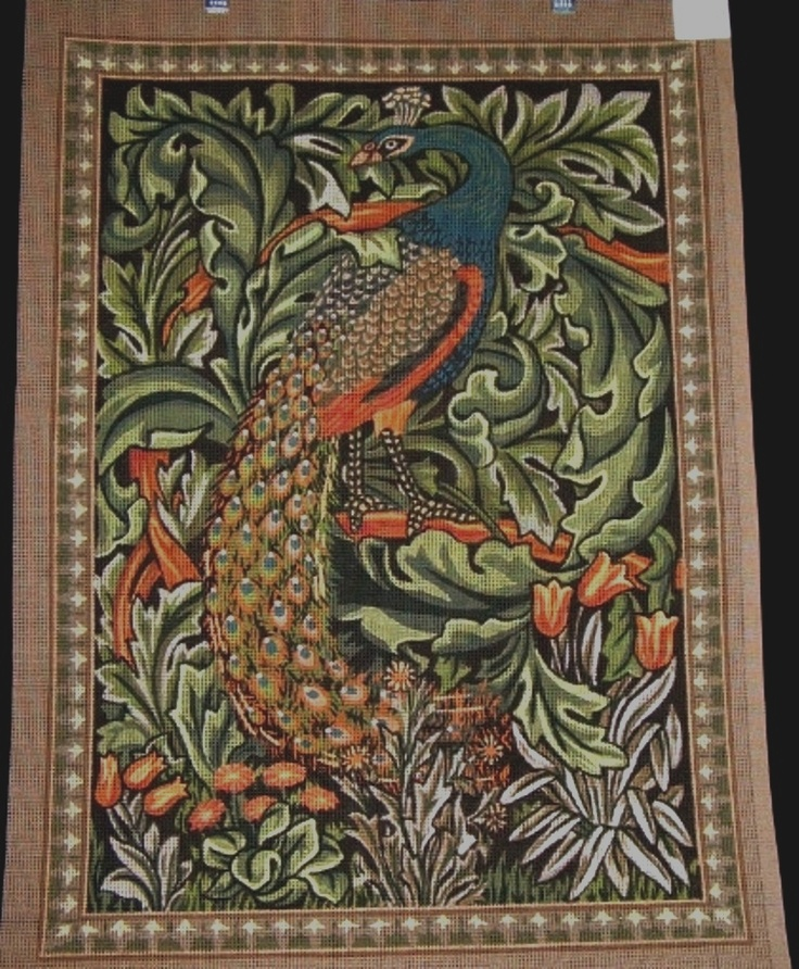 William Morris Peacock hand-painted needlepoint canvas. WOW!