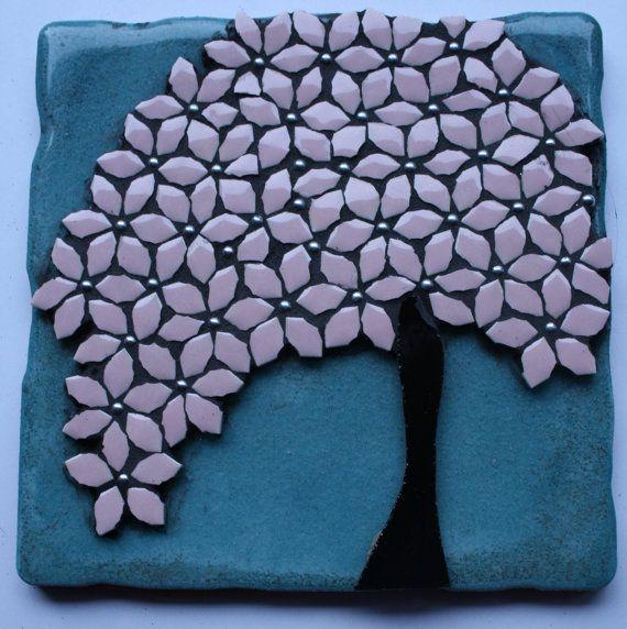 Glazed Ceramic Tile with Mosaic Dogwood Tree on Etsy, $40.00