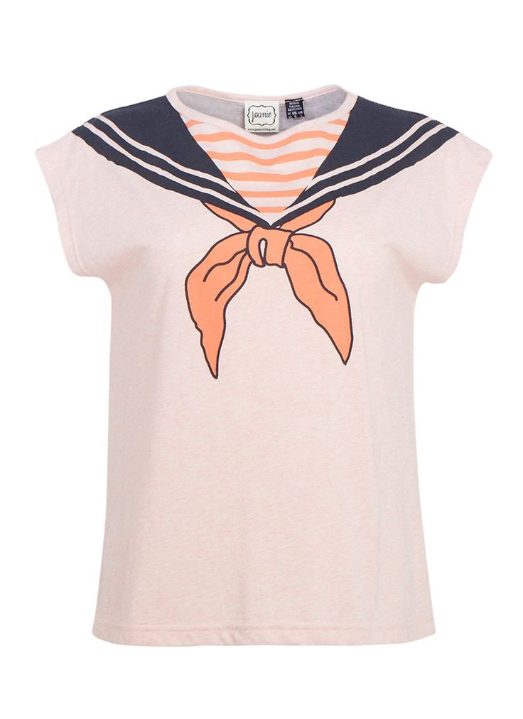 The Sailor printed nautical T Shirt is created in a soft pink jersey. This fun vintage-inspired print tee is perfect for casual days.