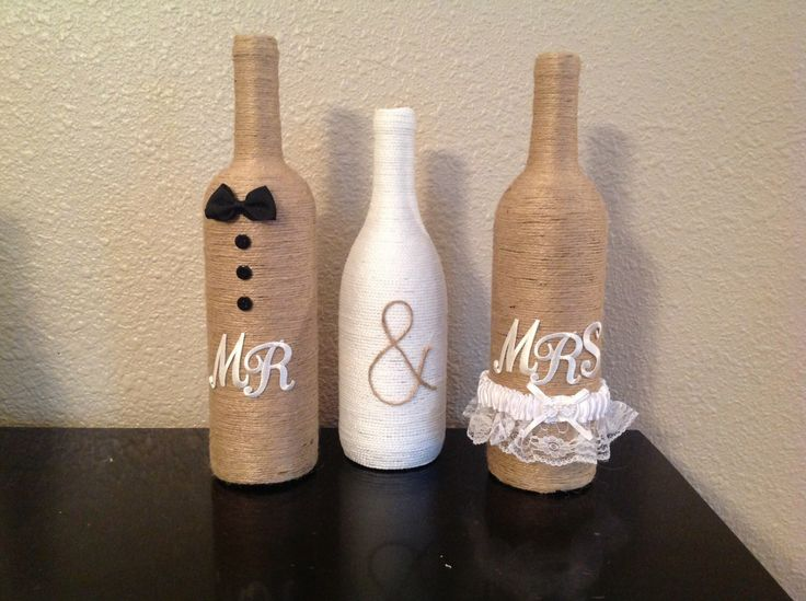 Mr & Mrs twine wine bottles by NorthwestdesignsbyHH on Etsy https://www.etsy.com/listing/176366483/mr-mrs-twine-wine-bottles