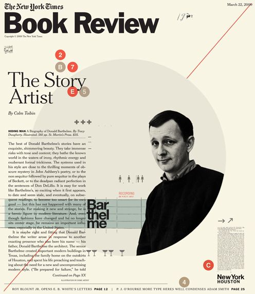 THE NEW YORK TIMES, cover for Book Review. HIDING MAN, A Biography of Donald Barthelme.