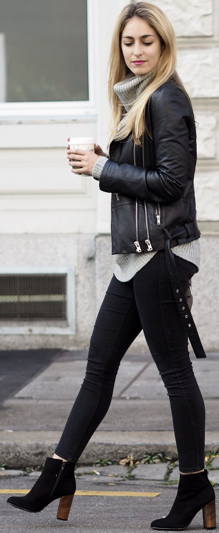 #fall #outfit #ideas | Black + Grey Leather jacket gray sweater black skinnies black booties