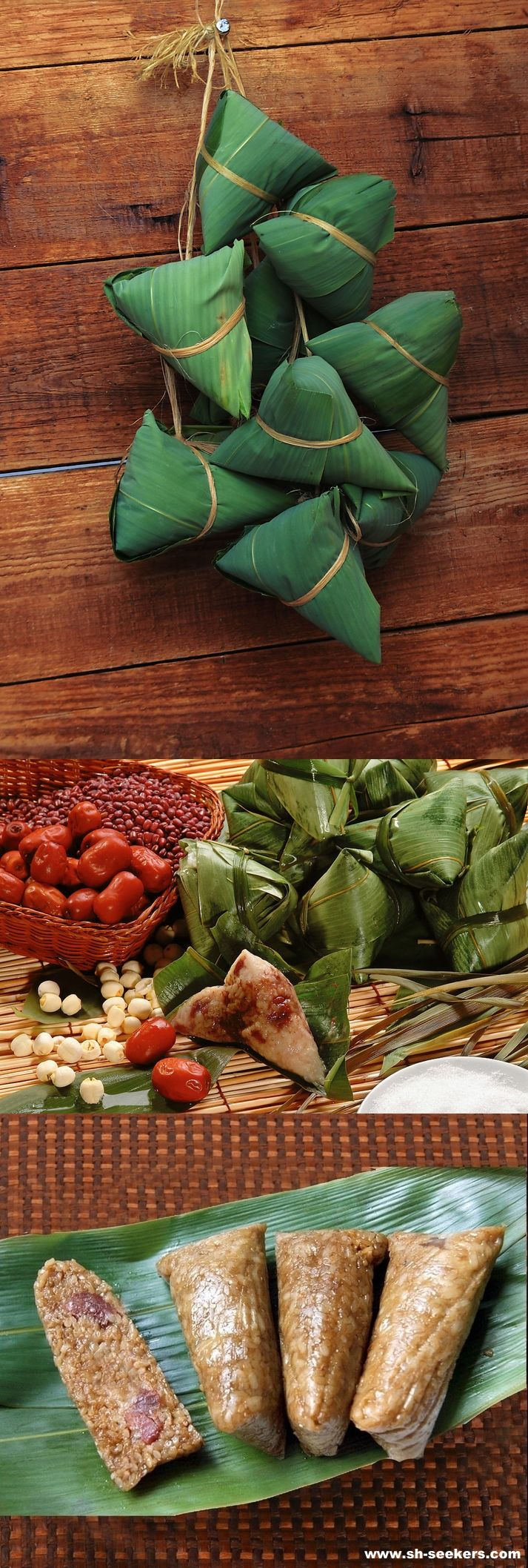 #chinesefood, A very popular dish during the Dragon Boat festival is tzung tzu. This tasty dish consists of rice dumplings with meat, peanut, egg yolk, or other fillings wrapped in bamboo leaves. The tradition of tzung tzu is meant to remind us of the village fishermen scattering rice across the water of the Mi Low river in order to appease the river dragons so that they would not devour Chu Yuan.