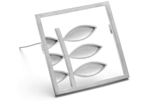 Square Silver Leaf and Stem Brooch. Diana Greenwood