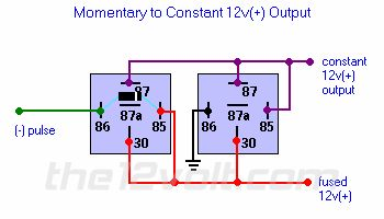 momentary to constant 12v output relay diagram 12 v. Black Bedroom Furniture Sets. Home Design Ideas