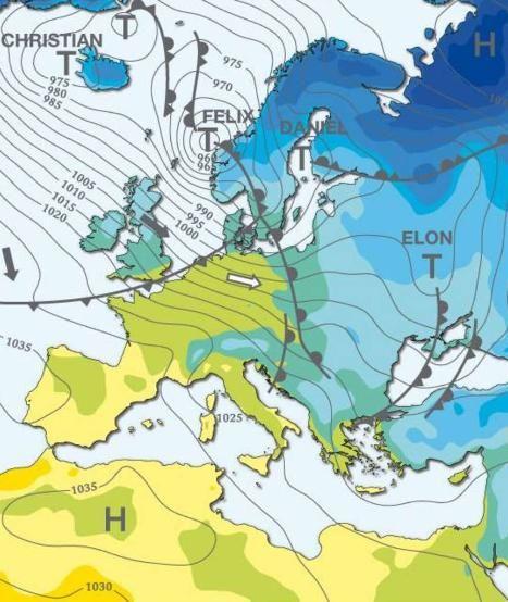 """Die Großwetterlage am Samstagmittag. Dann wird Tief """"Felix"""" über Deutschland stürmen. DWD meldet schwere Sturmböhen: Wann stürmt es in ihrer Region? http://www.bild.de/news/inland/sturm/orkan-zieht-von-norden-nach-sueden-wann-stuermt-es-in-ihrer-region-39259170.bild.html"""