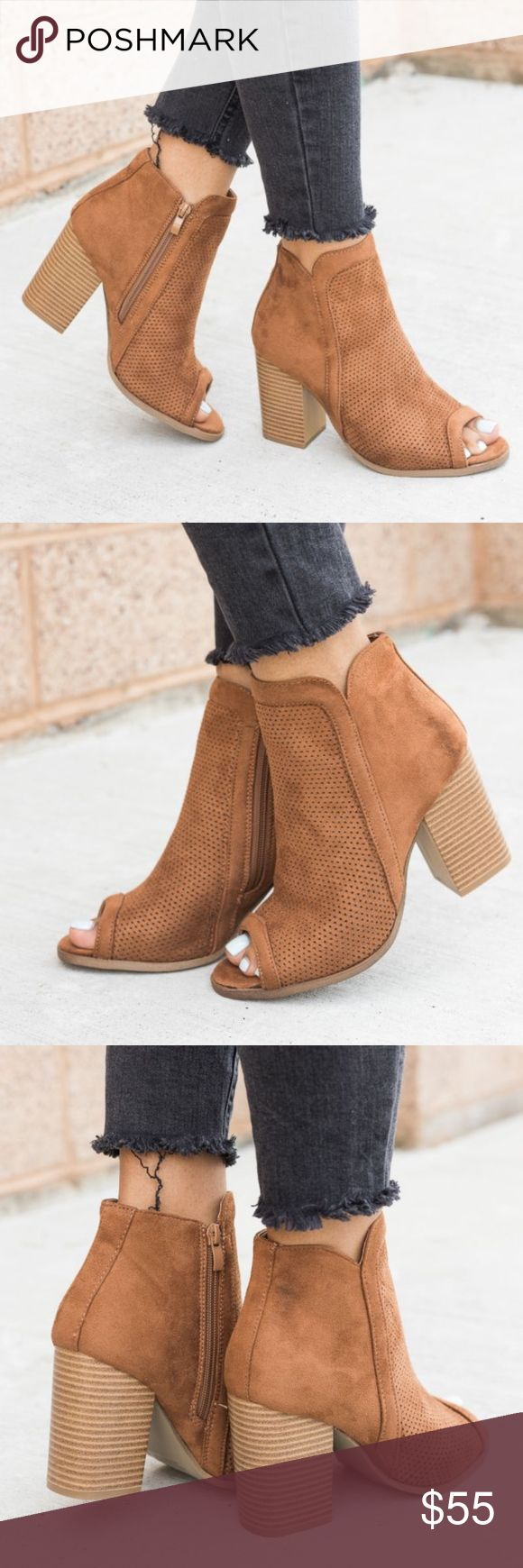 """SIENNA Peep Toe Bootie faux suede material, and approx. a 3.5"""" chunky heel.    true to size.  NO TRADE PRICE FIRM Shoes Ankle Boots & Booties"""