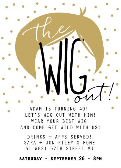Oh So Suite stationery the wig out party invitation