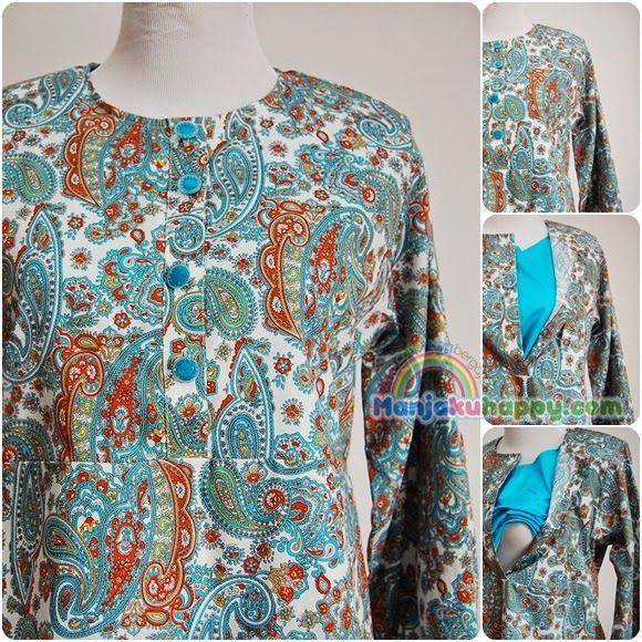 Baju Kurung Muslimah Menyusu Sedondon dengan anak Blue Paisley BKMibu 1 (XL) - manjakuhappy.com