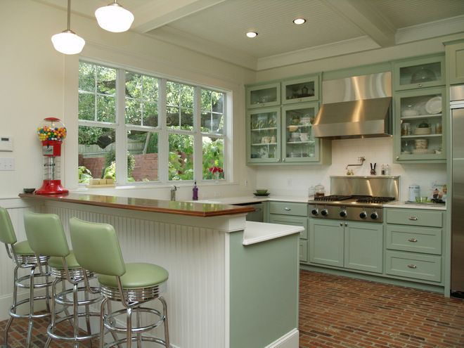 Small Kitchen Idea, Love The Wainscoting And Brick Floor And All The  Windows!
