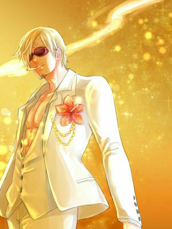 Vinsmoke Sanji One Piece Gold Film Movie White Outfit Sunglasses
