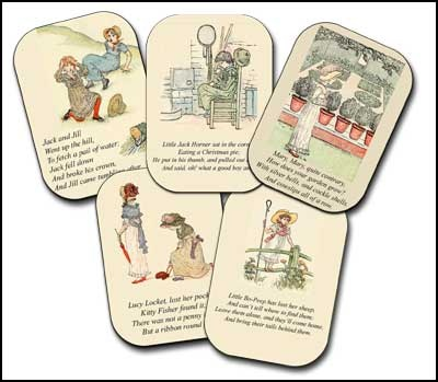 Beautiful nursery rhyme cards to download and print or use in scrap books.