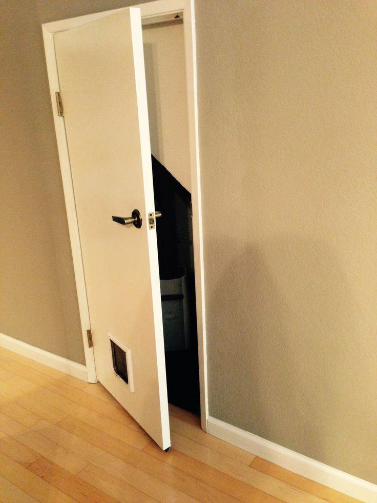 Cat Door Under The Stairs For A Litter Box Room Ingenious Basement Remodeling Hidden Litter