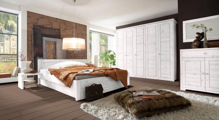 Schlafzimmer Schrank Doppelbett Bett Landhausstil Kiefer massiv - yatego.com