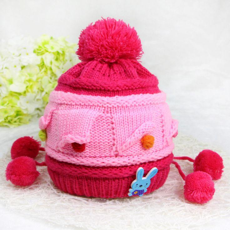 2016 0-12 М Детские Письма Hat теплый ухо бомбардировщиков дети уха вязаная шапка шапка мальчики девочки Висит шар зима ABC шляпы caps