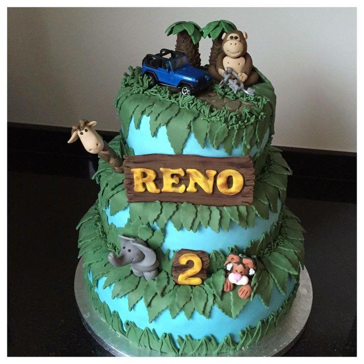 Jungle cake taart, boetseren aap, tijger, giraf, olifant