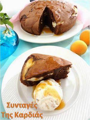 Κέικ σοκολάτα με μαρμελάδα βερίκοκο και τυρί κρέμα
