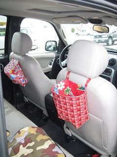 I first made a trashbag, exactly like the directions. Then, I decided to make bags for my kids to use for coloring books, crayons, books, etc. I followed the same tutorial, but made the squares 18x18. Worked perfectly and these have been SO HELPFUL in the car.