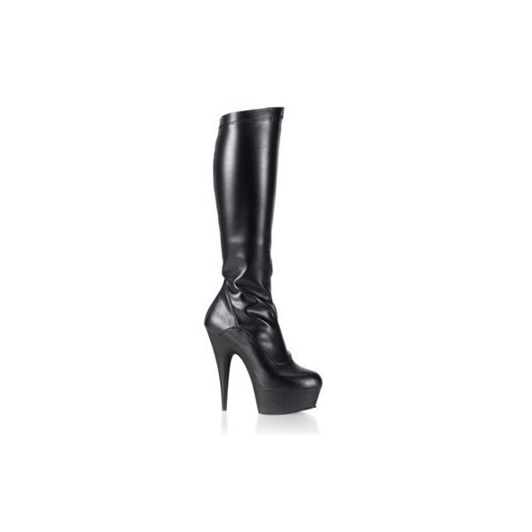 DELIGHT-2000 Stretch Knee Boots - Pleaser Shoes ($77) ❤ liked on Polyvore featuring shoes, boots, zipper boots, knee high platform boots, stretchy knee high boots, knee high stiletto boots and stretchy boots
