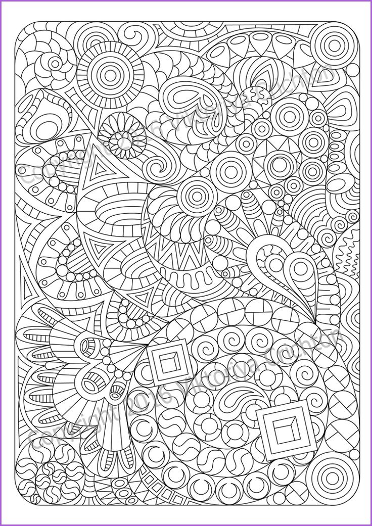 Adult Coloring Page Zentangle Pattern Inspired Sheet Printable Art Original PDF