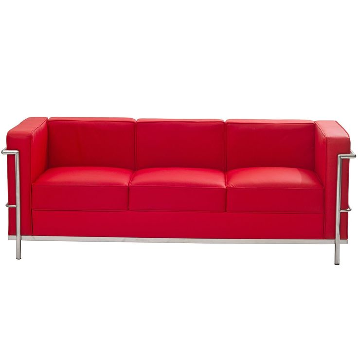 Modway Charles Leather Petite Sofa in Red. Genuine leather upholstery. Stainless steel frame. Multi-density foam cushions.