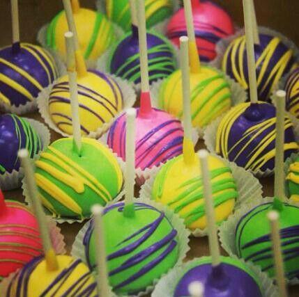 neon cake pops | Neon cake pops | -;,'*,~`· Nikki-:;,*`~·