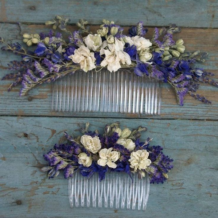 Provence Dried Flower Hair Comb (Sizes shown: large and medium)