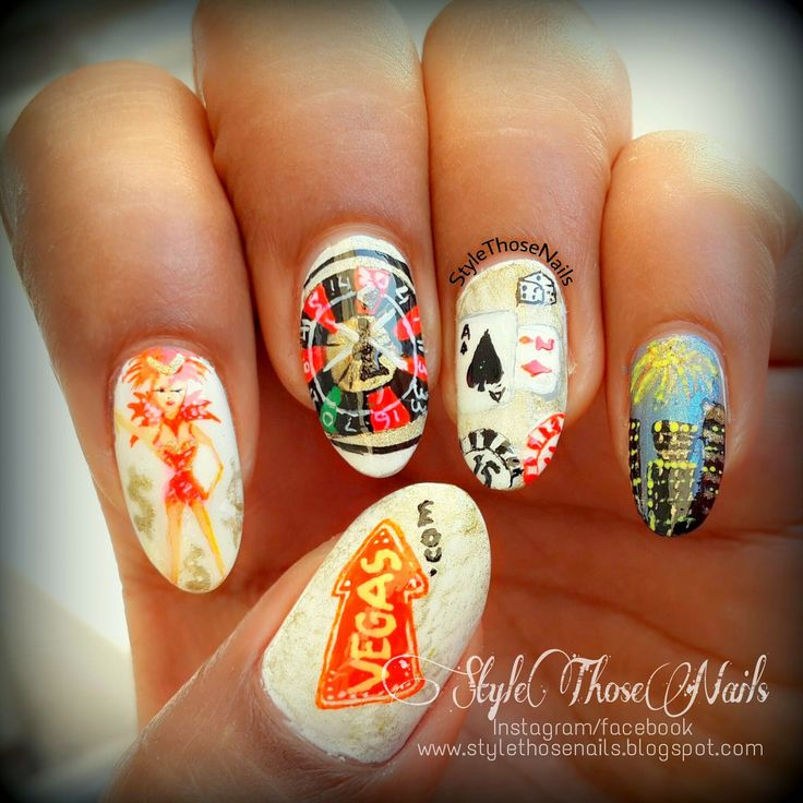 Style Those Nails: Night out in Vegas: A Las-Vegas Themed Nail Art #lasvegasnails #vegasnails